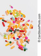 viele, pillen, bunte