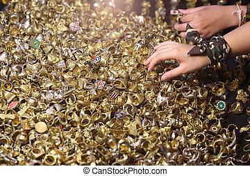 viele, ring, gold, hintergrund