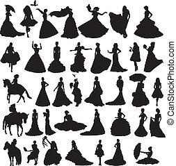viele, silhouetten, diffe, bräute