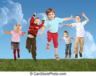 viele, springende , kinder, auf, gras, collage