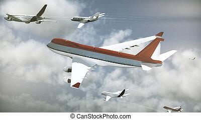 viele, verkehrsflugzeuge, himmelsgewölbe, tageszeit