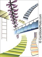 viele, verschieden, treppe