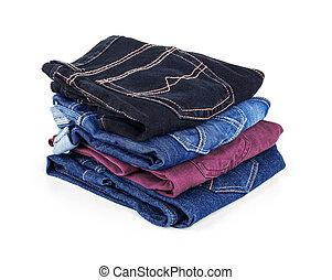 viele, verschieden, weißes, jeans, gefärbt
