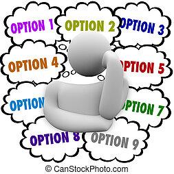viele, wahlmöglichkeit, person, betrachtet, wählen, optionen, am besten