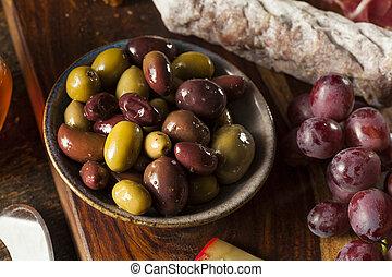 vielfalt, von, frisch, organische , oliven