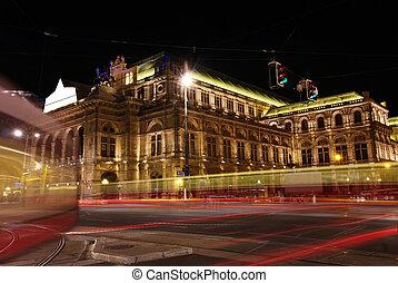viena, casa de ópera, austria, noche, viena