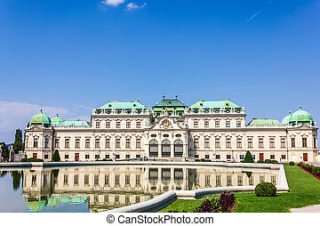 viena, cheio, palácio, pessoas, não, belvedere, vista