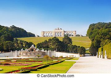 viena, palácio schonbrunn, netuno, gloriette, áustria, chafariz, estrutura, vista