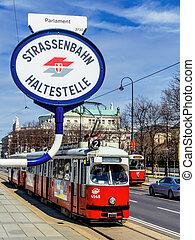 vienna. austria. streetcar - the tram in vienna, austria....