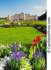 Vienna - Belvedere Palace with flowers - Austria