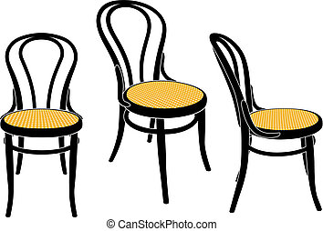 Vienna cafe chair - the same chair in three different sights