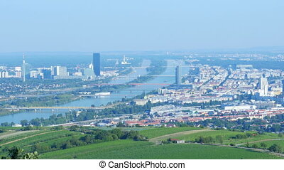 """Vienna city and danube river view, austria, 4k"""