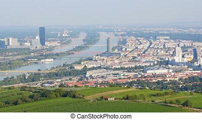 """Vienna city and danube river view, austria, 4k"""