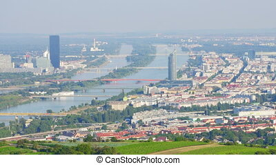 """""""Vienna city and danube river view, austria, timelapse, 4k"""""""
