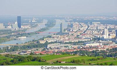"""Vienna city, danube river view, austria, timelapse, zoom..."