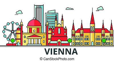 Vienna city skyline. Buildings, streets, silhouette, architecture, landscape, panorama, landmarks. Editable strokes. Flat design line vector illustration concept. Isolated icons on white background
