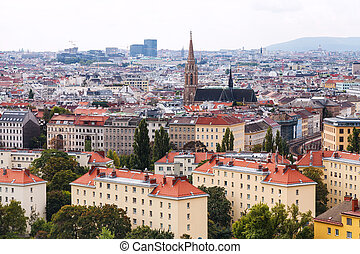 Vienna city skyline from Prater park side