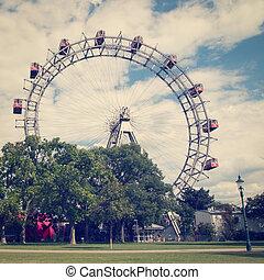 Vienna Ferris Wheel - The ferris wheel in Vienna with retro...