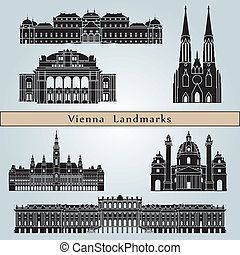 Vienna landmarks and monuments isolated on blue background in editable vector file