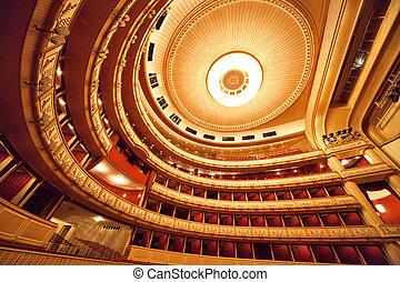 Vienna Opera interior - Vienna opera interior. Wide angle...