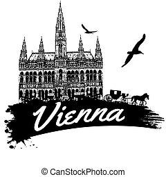 Vienna poster - Vienna in vitage style poster, vector...
