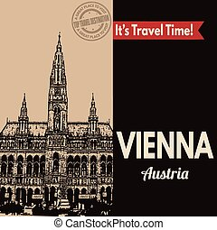 Vienna, retro touristic poster