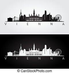 Vienna skyline and landmarks silhouette