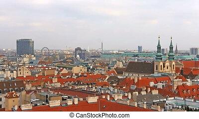 Vienna skyline, Austria. Aerial view of Vienna. Time-lapse....
