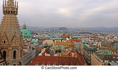 Vienna skyline, Austria. Aerial view of Vienna. Time-lapse....