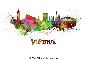 Vienna skyline in watercolor splatters with clipping path
