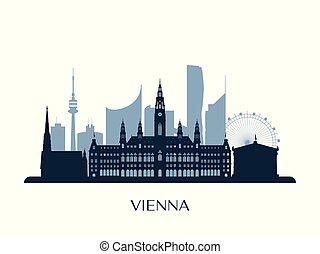 Vienna skyline, monochrome silhouette.