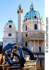 Vienna , St. Charles Cathedral - St. Charles Cathedral and...