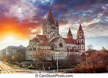vienna, -, st., francesco, di, assisi, chiesa, mexikoplatz