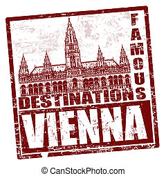 Vienna stamp - Grunge rubber stamp with town hall and the...