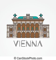Vienna State Opera - The symbol of Austria. Modern linear...