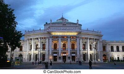 Vienna, theater building in evening illumination