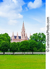Vienna town hall - Town hall in Vienna view from the park on...
