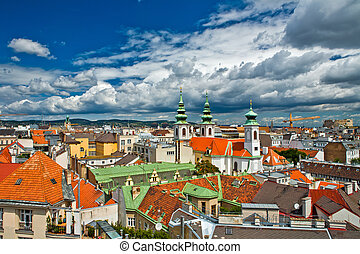 Vienna view from the roof - View of Vienna city from the...