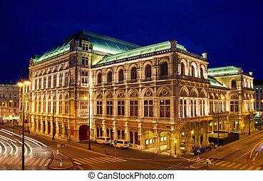 Vienna\'s State Opera House at night, Austria
