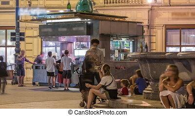 vienne, rue, saucisse, timelapse, kiosque, position nourriture, nuit