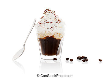 Viennese coffee. Vienna coffee in glass with coffee beans...