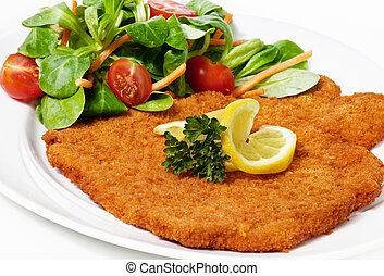 viennese schnitzel (escalope) - Original fried breaded Veal...