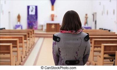vient, femme, église
