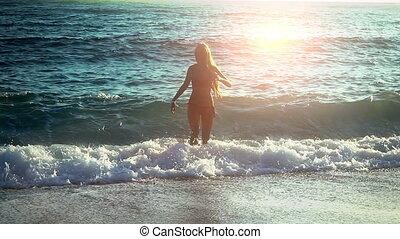 vient, girl, dehors, mer, vacances, plage, pieds nue