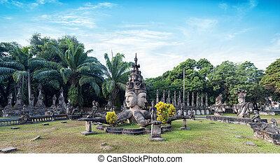 vientiane, parque, park.tourist, atração, buddha, laos,...