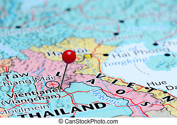 Vientiane pinned on a map of Asia - Photo of pinned...