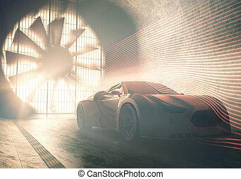 viento, concepto, coche, túnel