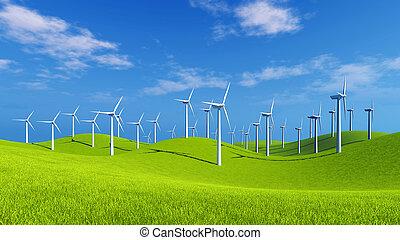 viento, día soleado, colinas, granja, verde