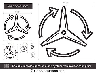 viento, línea, icon., potencia