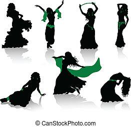 vientre, dance., siluetas, de, belleza